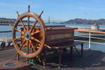 Maritime National Historical Park: Balclutha sailing ship on the background of Golden Gate Bridge